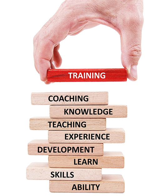 hand placing a wooden block that says training on top of other wooden blocks that say coaching, knowledge, teaching, experience, development, learn, skills and ability