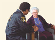 Elder lady and officer