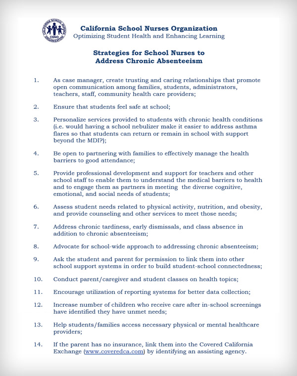 Strategies for School Nurses